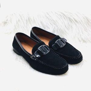 Ferragamo Black Leather Felt Driving Shoes, Size 6